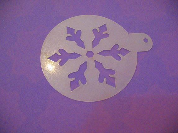 Трафарет для торта, капкейков, кофе Снежинка 9, фото 2