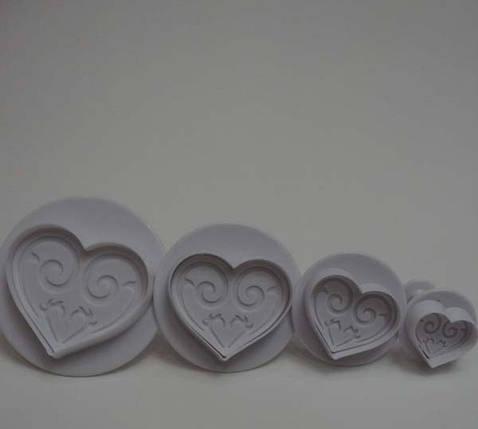 Плунжер кондитерский  из 4-х Сердце с узорами, фото 2