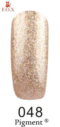 Гель-лак F.O.X Pigment 048 (прозрачный с мелкими золотистыми блестками), 6 ml
