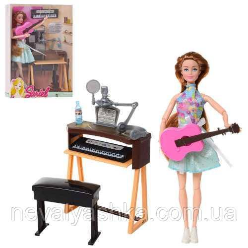 Кукла с синтезатором Певица шарнирная гитара микрофон, 7728-B1, 009665