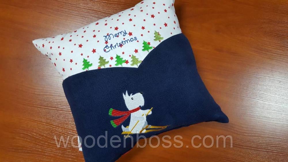 """Декоративная подушка """"Скотти на лыжах"""""""