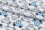 """Сатин ткань """"Голубые и прозрачные машинки"""" на белом, №1720с, фото 2"""