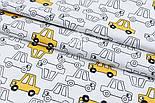 """Сатин ткань """"Жёлтые и прозрачные машинки"""" на белом, №1721с, фото 2"""