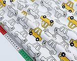 """Сатин ткань """"Жёлтые и прозрачные машинки"""" на белом, №1721с, фото 3"""