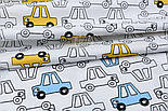 """Сатин ткань """"Жёлтые и прозрачные машинки"""" на белом, №1721с, фото 5"""