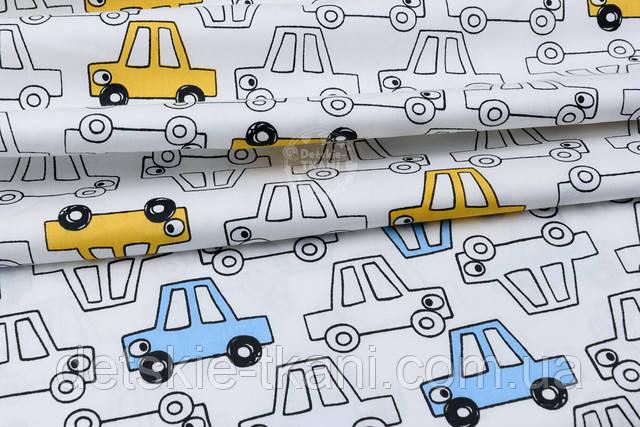 белый сатин с прозрачными жёлтыми машинками