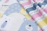"""Сатин ткань """"Полосы и стрелки"""" жёлтые, розовые и серые на белом, № 1722с, фото 2"""