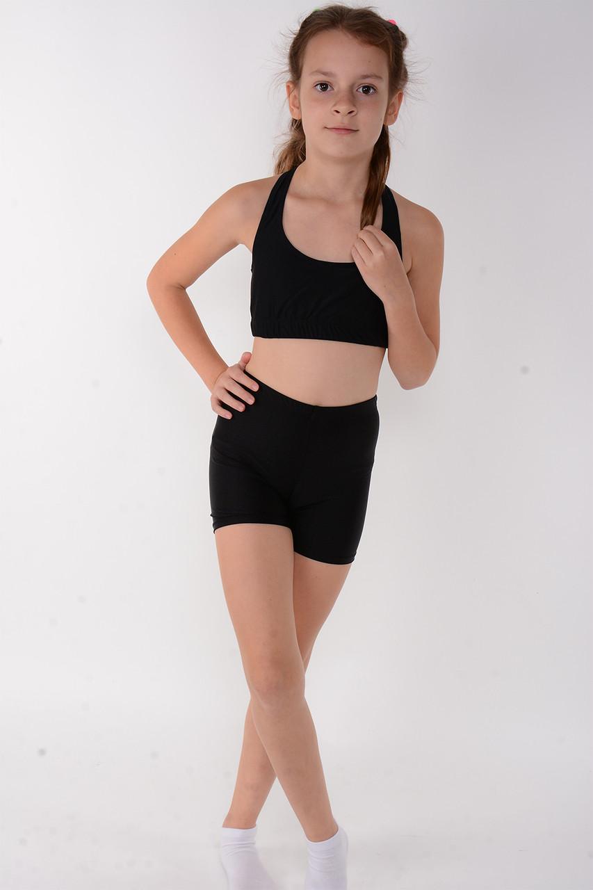 Спортивный детский топ для девочки Черный  на объем 50 - 80 см
