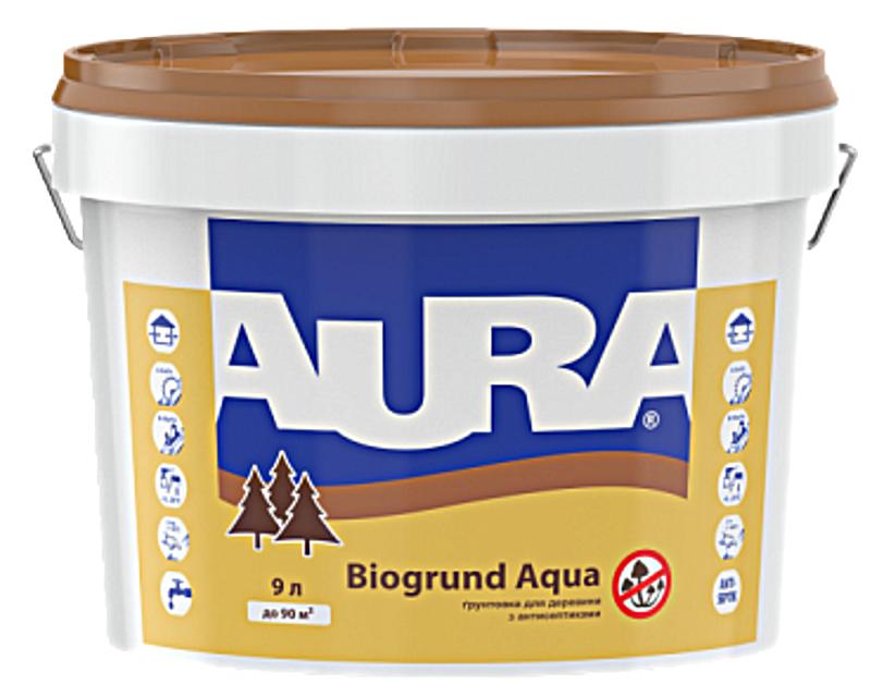 Грунтовка антисептическая AURA BIOGRUND AQUA для древесины 9л