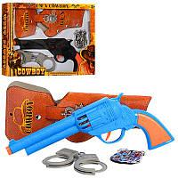 Детский набор ковбоя 911A-1-2, пистолет, кобура, наручники, эмблема, 2 вида, в кор-ке, 31,5-24-4см