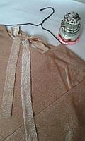 Женский топ с блеском, женская нарядная удлиненная блуза с бантом
