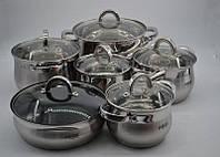Большой набор кухонной посуды кастрюль 12 предметов Benson BN-212, фото 1