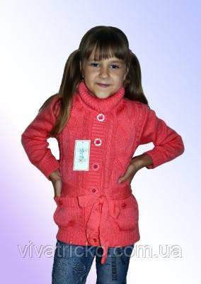 Теплая кофта для девочки м 9604, р 122-140 , разные цвета