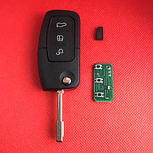 Ключ  Форд мондео, фокус Ford mondeo, focus выкидной 3 кнопки 433MHz чип 4D лезвие FO21