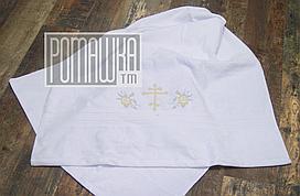 Крыжма (полотенце) 140х70 см для крещения младенца изготовлена из махры украшена вышивкой 3774 Белый