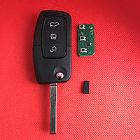 Ключ  Форд мондео, фокус Ford mondeo, focus выкидной 3 кнопки 433MHz чип 4D лезвие HU101