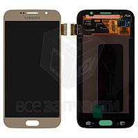 Samsung G920FD Galaxy S6 Duos Дисплейный модуль для мобильного телефона,золотистый,оригинал