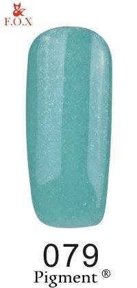 Гель-лак F.O.X Pigment 079 (нежно-бирюзовый с очень мелкими серебристыми блестками),6 ml