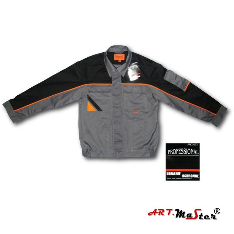 Куртка рабочая ARTMAS серого цвета с оранжевыми и черными  вставками Kurtka PROFESSIONAL