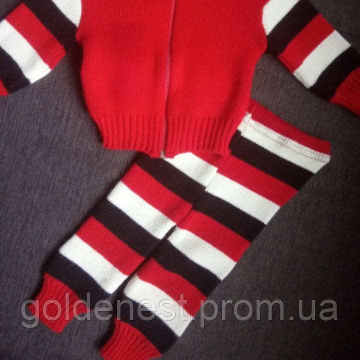 уценка комплект костюм детский теплый вязаный для новорожденного
