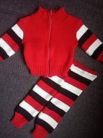 Уценка!!! Комплект костюм детский теплый вязаный для новорожденного на 6- 9 мес