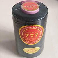 """Черные нитки """"777""""  швейные цветные 40/2 4000ярдов (от 6 бобин)"""