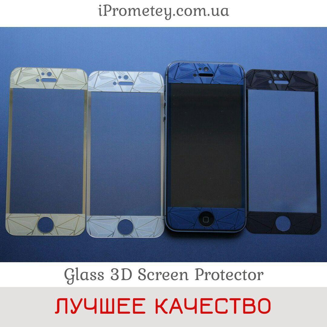 3D цветное ЗАЩИТНОЕ СТЕКЛО С УЗОРОМ для iPhone 4/4s 5/5s/SE 6/6s 6 Plus/6s Plus 7/8 7 Plus/8 Plus перед зад, фото 1