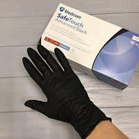 Перчатки нитриловые черные 6г/м² размер L (50 п.) текстурированные неопудренные SafeTouch Advanced