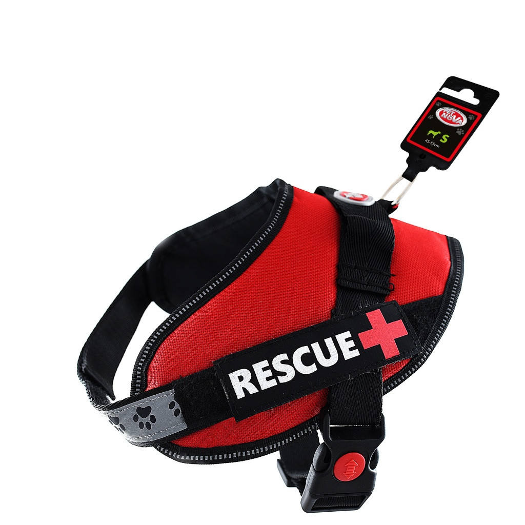 Шлея посилена Pet Nova Rescue+ S 45-55 см Червоний