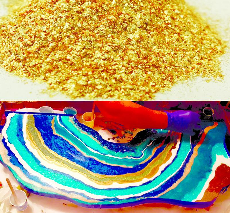 """Перламутровый пигмент """"Светлое золото"""" , 50 г.Подходит для декора смолы в картинах """"Резинарт"""", столешнях и тд."""