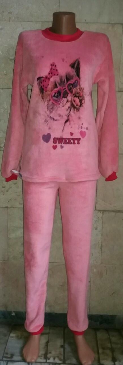 Махровая пижама для девочки подростка с рисунком Sweety 40-46 р, подростковые пижамы оптом от производителя