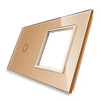 Лицевая панель для сенсорного выключателя Livolo 1 канал и розетки, цвет золото, стекло (VL-C7-C1/SR-13)