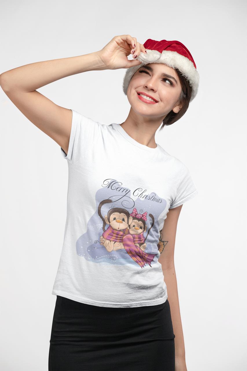 """Футболка Новорічна """"Мавпочки - Merry Christmas"""""""