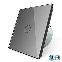 Бесконтактный проходной выключатель Livolo | цвет серый, материал стекло (VL-C701SPRO-15), фото 1