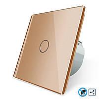 Бесконтактный проходной выключатель Livolo   цвет золотой, материал стекло (VL-C701SPRO-13), фото 1