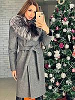 Женское зимнее шерстяное пальто с поясом  от 42 до 52 размера  код. София
