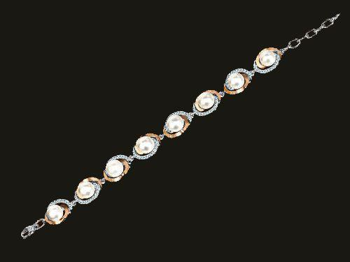 Женский серебряный браслет с золотыми пластинами и жемчугом