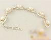 Женский серебряный браслет с золотыми пластинами и жемчугом, фото 3