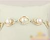 Женский серебряный браслет с золотыми пластинами и жемчугом, фото 2