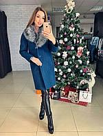 Женское зимнее шерстяное пальто с поясом  от 42 до 50 размера РАЗНЫЕ ЦВЕТА код. Лана Зима