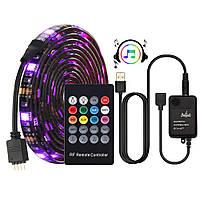 USB LED RGB лента подсветка ТВ монитора реагирует на звук + пульт