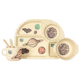 """Детский набор эко-посуды из бамбукового волокна """"Космос"""""""
