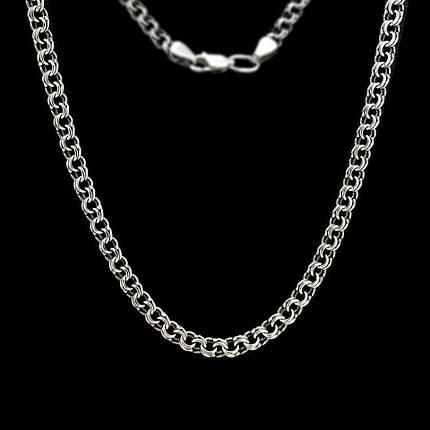 Серебряная цепочка, 600мм, 17 грамм, плетение Бисмарк, чернение, фото 2