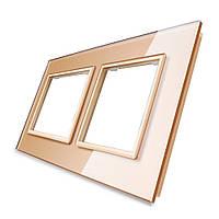 Рамка для розетки Livolo 2 поста, цвет золото, стекло (VL-C7-SR/SR-13), фото 1
