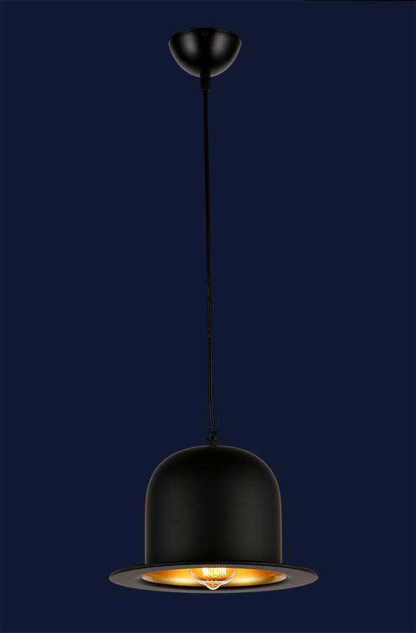 Светильник шляпа-котелок в стиле lolt черный + золото LV