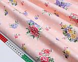 """Сатин ткань """"Букетики сиренево-розовые и белый горошек"""" на светло-персиковом фоне, №1716с, фото 3"""
