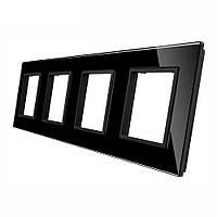 Рамка для розетки Livolo 4 поста, цвет черный, стекло (VL-C7-SR/SR/SR/SR-12), фото 1