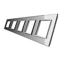 Рамка для розетки Livolo 5 постов, цвет серый, стекло (VL-C7-SR/SR/SR/SR/SR-15), фото 1
