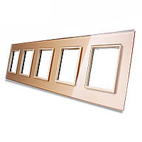 Рамка для розетки Livolo 5 постов, цвет золото, стекло (VL-C7-SR/SR/SR/SR/SR-13), фото 1