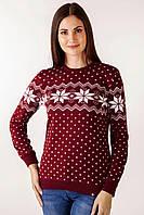 Свитер Рождественский со звездами женский Бордовый, XL